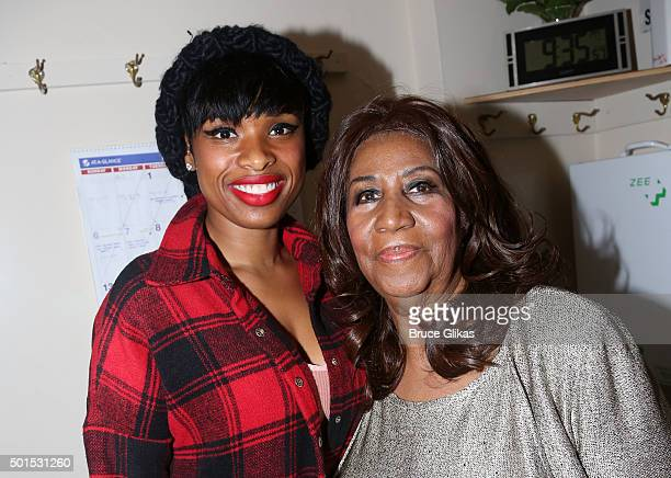 Jennifer Hudson and Aretha Franklin pose backstage at the hit musical The Color Purple on Broadway at The Jacobs Theater on December 15 2015 in New...