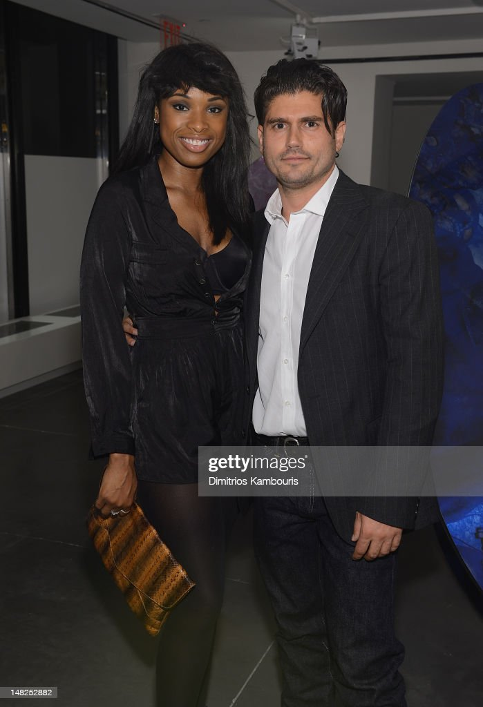 Jennifer Hudson and artist Andrew Levitas attend 'Metal Works Photography: Sculptures' By Andrew Levitas Exhibition at Phillips de Pury & Company on July 12, 2012 in New York City.