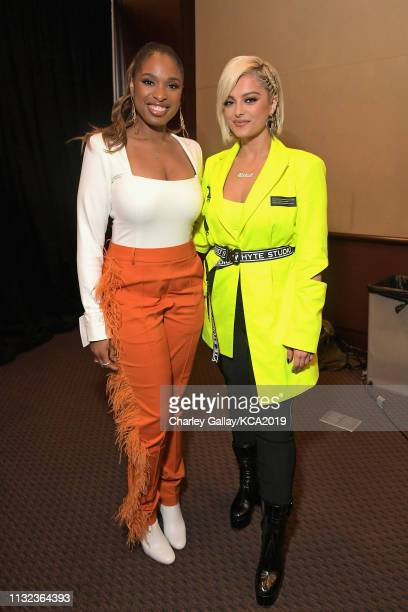 Jennifer Hudson and Bebe Rexha attend Nickelodeon's 2019 Kids' Choice Awards at Galen Center on March 23 2019 in Los Angeles California