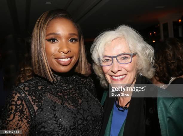 Jennifer Hudson and Betty Buckley pose at the after party for The World Premiere of the new film Cats based on the Andrew Lloyd Webber musical at...