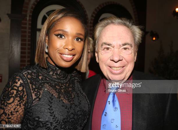 """Jennifer Hudson and Composer Andrew Lloyd Webber pose at the after party for The World Premiere of the new film """"Cats"""" based on the Andrew Lloyd..."""
