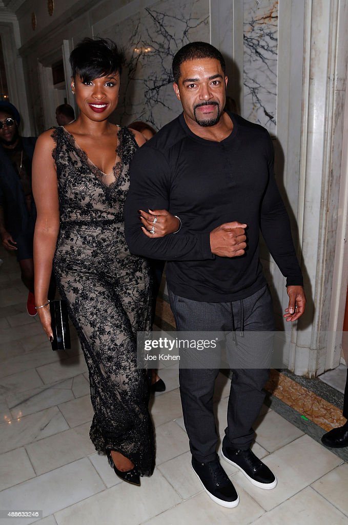 Jennifer Hudson (L) and David Otunga attend the Marchesa Spring 2016 fashion show during New York Fashion Week at St. Regis Hotel on September 16, 2015 in New York City.
