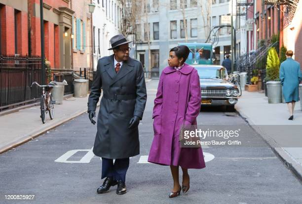 Jennifer Hudson and Forest Whitaker are seen on set of 'Respect' on February 14, 2020 in New York City.