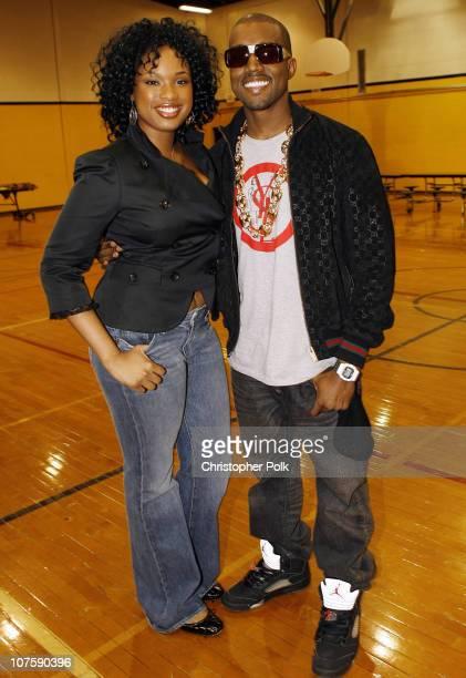 Jennifer Hudson and Kanye West during TMobile Sidekick and Dwyane Wade Restore Richards High School Gym at Richards High School in Oak Lawn Illinois
