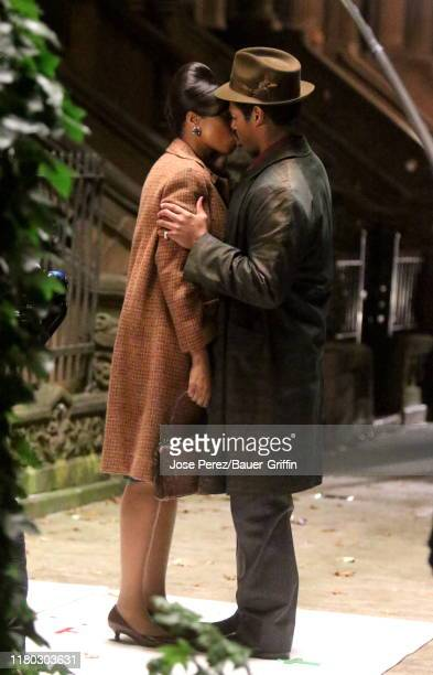 Jennifer Hudson and Marlon Wayans are seen on the set of Respect on November 05 2019 in New York City