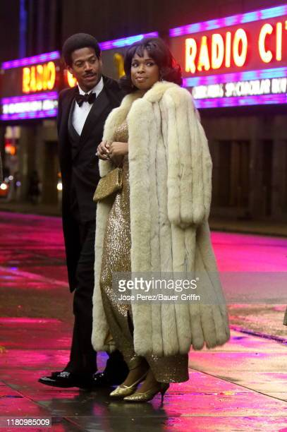 Jennifer Hudson and Marlon Wayans are seen on the set of the Respect on November 08 2019 in New York City