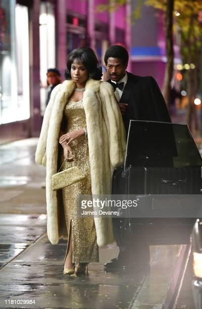 Jennifer Hudson and Marlon Wayans seen filming on location for 'Respect' at Rockefeller Center on November 8 2019 in New York City
