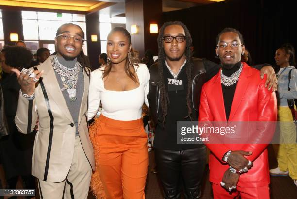 Jennifer Hudson and Quavo, Takeoff and Offset of Migos attend the Pinkberry green room backstage at Nickelodeon's 2019 Kids' Choice on March 23, 2019...