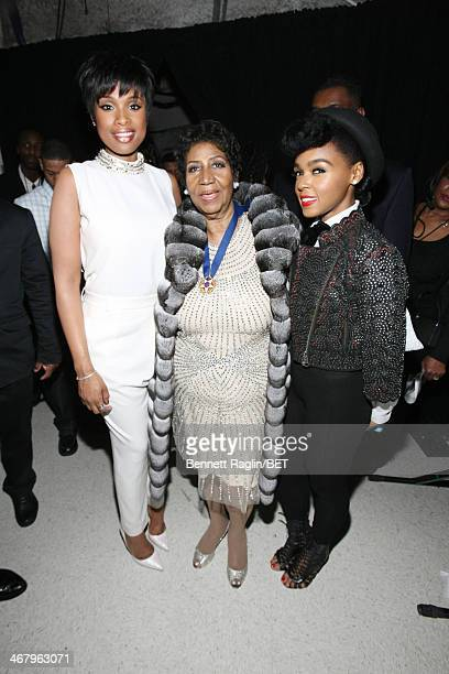 Jennifer Hudson, Aretha Franklin, and Janelle Monae pose backstage at BET Honors 2014 at Warner Theatre on February 8, 2014 in Washington, DC.