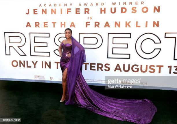 """Jennifer Hudson attends the premiere of MGM's """"Respect"""" at Regency Village Theatre on August 08, 2021 in Los Angeles, California."""