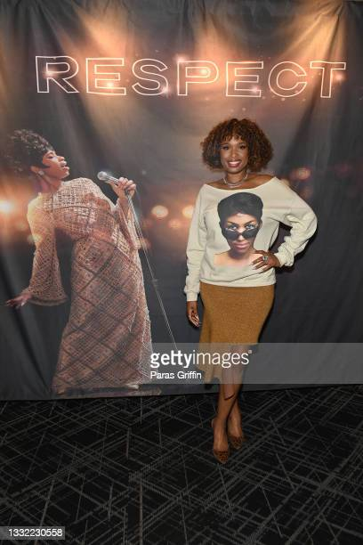 """Jennifer Hudson attends the """"Respect"""" fan screening at IPIC Theaters at Colony Square on August 03, 2021 in Atlanta, Georgia."""