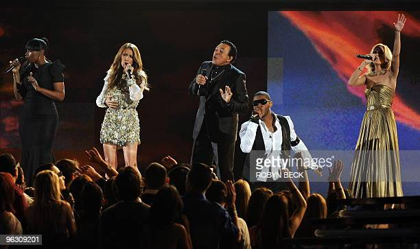 Jennifer Hudson Celine Dion Smokey Robinson Usher and Carrie Underwood perform to pay tribute to Michael Jackson at the 52nd annual Grammy Awards in...