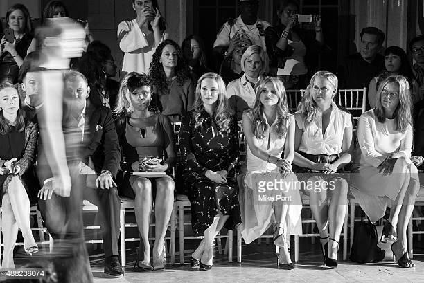 Jennifer Hudson, Christina Hendricks, Bella Thorne and Amy Schumer attend the Zac Posen Spring 2016 fashion show during New York Fashion Week at...