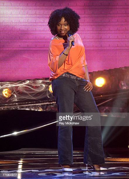 Jennifer Hudson competes on stage during a taping of American Idol Season 3