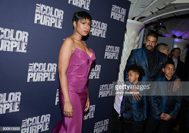 Jennifer Hudson husband David Otunga and sons attend 'The Color Purple' Broadway Opening Night at Copacabana on December 10 2015 in New York City