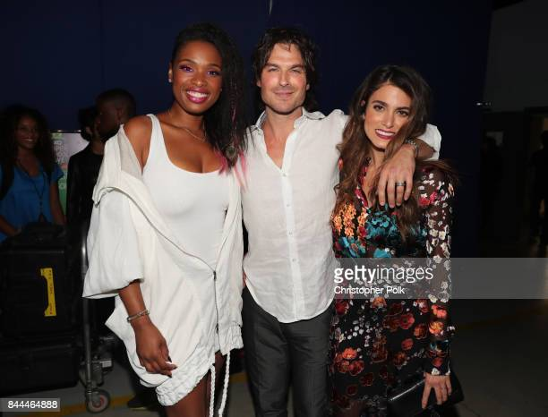 Jennifer Hudson Ian Somerhalder and Nikki Reed pose during the XQ Super School Live presented by EIF at Barker Hangar on September 8 2017 in Santa...
