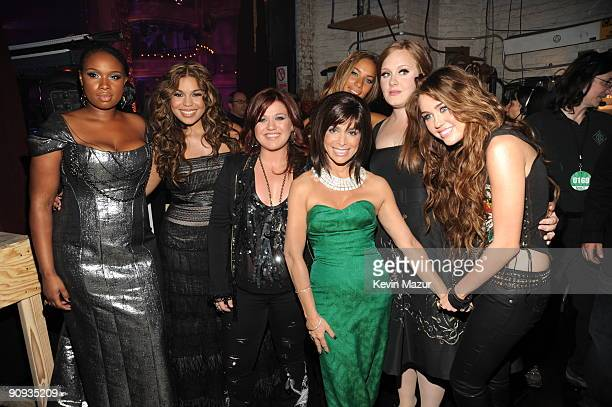 Jennifer Hudson Jordin Sparks Martina McBride Leona Lewis Paula Abdul Adele and Miley Cyrus backstage at Brooklyn Academy of Music on September 17...