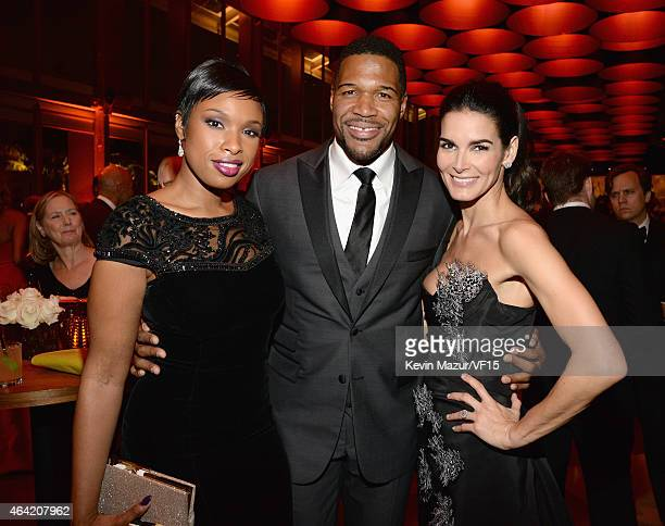 Jennifer Hudson Michael Strahan and Angie Harmon attend the 2015 Vanity Fair Oscar Party hosted by Graydon Carter at the Wallis Annenberg Center for...