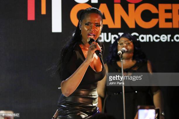 Jennifer Hudson performs at SU2C Jennifer Hudson Concert At The Masterpass House on July 8 2017 in Miami Beach Florida
