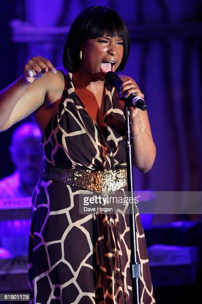Jennifer Hudson performs at the Black Ball UK in aid of 'Keep A Child Alive' HIV/AIDS charity at St John's, Smith Square on July 10, 2008 in London,...
