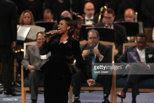Jennifer Hudson performs at the funeral for Aretha Franklin at the Greater Grace Temple on August 31 2018 in Detroit Michigan Franklin died at her...