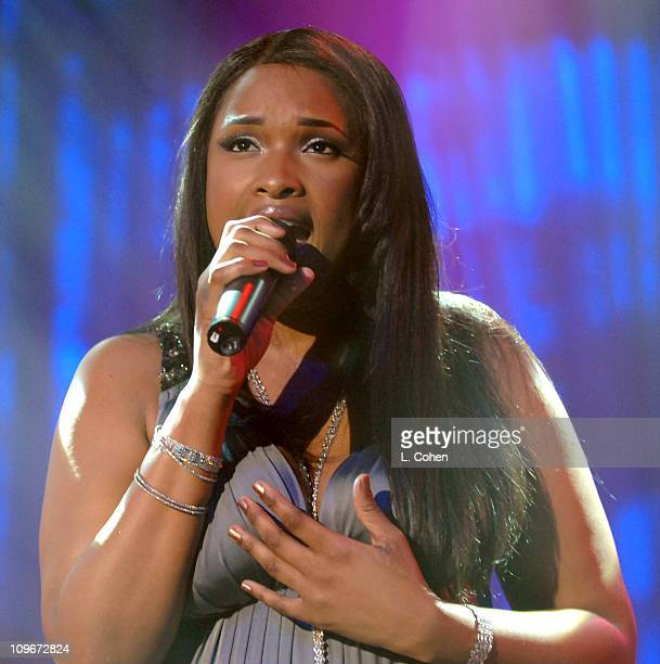 Jennifer Hudson performs during 2007 Clive Davis PreGRAMMY Awards Party Show at Beverly Hills Hilton in Beverly Hills California United States