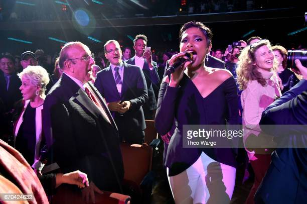 Jennifer Hudson performs for Clive Davis in the audience during the Clive Davis The Soundtrack of Our Lives Premiere Concert during the 2017 Tribeca...