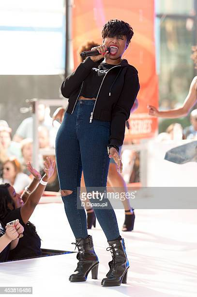 "Jennifer Hudson performs on NBC's ""Today"" at Rockefeller Plaza on August 19, 2014 in New York City."
