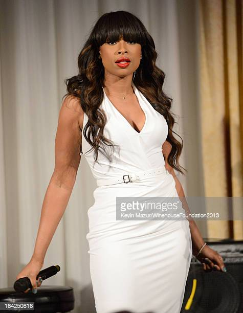Jennifer Hudson performs on stage at the 2013 Amy Winehouse Foundation Inspiration Awards and Gala at The Waldorf=Astoria on March 21 2013 in New...