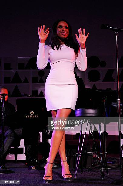 Jennifer Hudson performs on stage during the 2nd Annual amfAR Inspiration Gala at The Museum of Modern Art on June 14 2011 in New York City