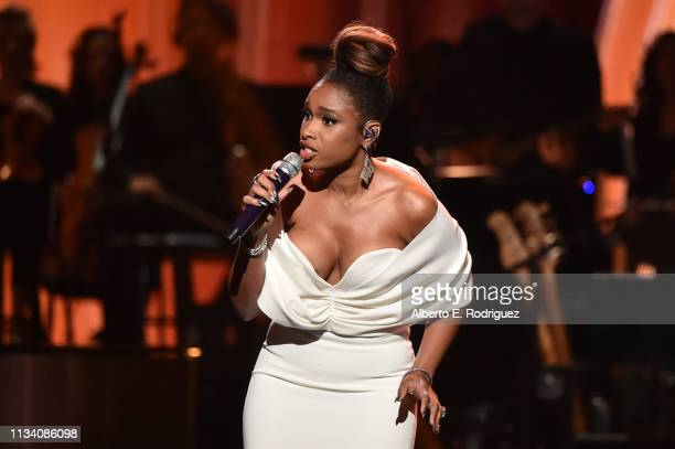 Jennifer Hudson performs onstage at AllStar Lineup Pays Tribute At 'Aretha A GRAMMYCelebration For The Queen Of Soul at The Shrine Auditorium on...