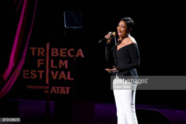 Jennifer Hudson performs onstage during the 'Clive Davis The Soundtrack of Our Lives' Premiere Concert during the 2017 Tribeca Film Festival at Radio...