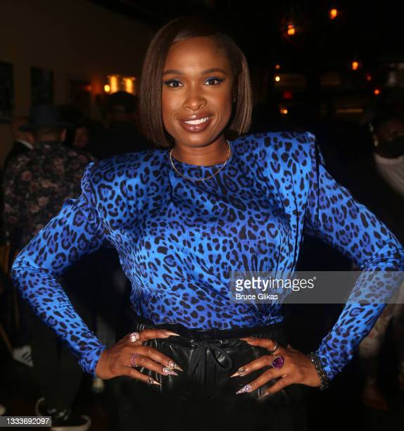 """Jennifer Hudson poses at a NYC Theatre community private screening after party for the new MGM film """"Respect"""" at Zia Maria Chelsea on August 11, 2021..."""