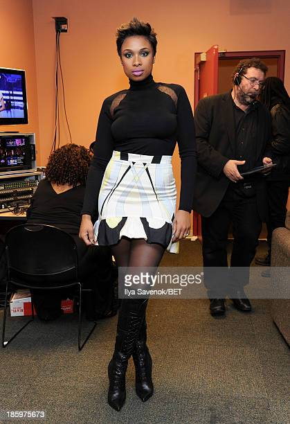 Jennifer Hudson prepares backstage at BET Black Girls Rock at New Jersey Performing Arts Center on October 26 2013 in Newark New Jersey