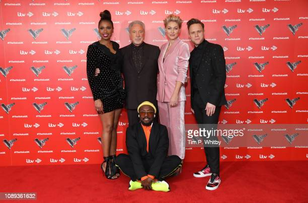 Jennifer Hudson Sir Tom Jones Emma Willis Olly Murs and William during The Voice UK 2019 launch at W hotel Leicester Square on January 03 2019 in...