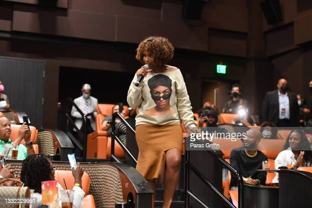 """Jennifer Hudson surprises movie-goers during the """"Respect"""" fan screening at IPIC Theaters at Colony Square on August 03, 2021 in Atlanta, Georgia."""