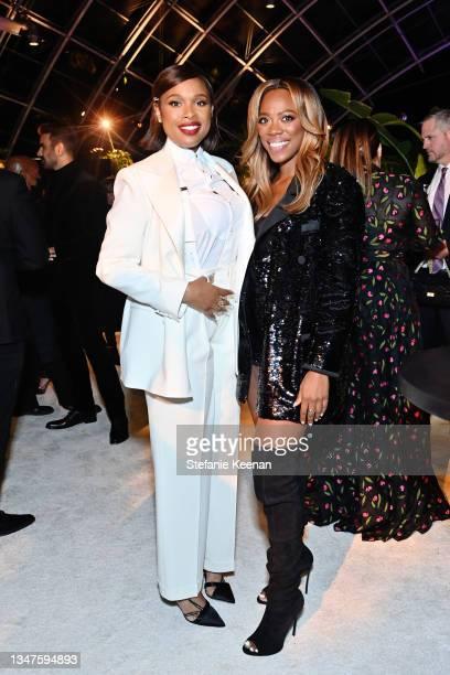 Jennifer Hudson, wearing Ralph Lauren, and Yvonne Orji attend ELLE's 27th Annual Women In Hollywood Celebration, presented by Ralph Lauren and Lexus,...