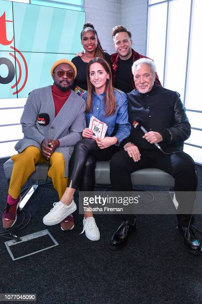 Jennifer Hudson Wiliam Sir Tom Jones and Olly Murs from The Voice UK visit Heat Breakfast with Emily Segal on January 4 2019 in London United Kingdom