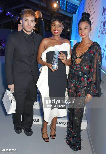 Jennifer Hudson winner of the Trailblazer award poses with presenters Adam Lambert and Alesha Dixon at the Glamour Women of The Year Awards 2017 in...