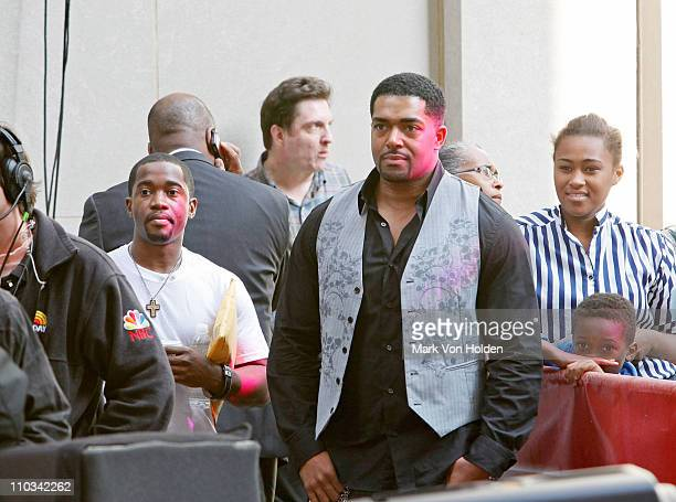 Jennifer Hudson's fiance David Otunga watches as Jennifer Hudson performs on NBC's 'Today' at Rockefeller Center on May 15 2009 in New York City