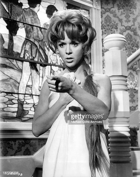 Jennifer Iarlene Golonka points finger in a scene from the film 'Hang 'Em High' 1968