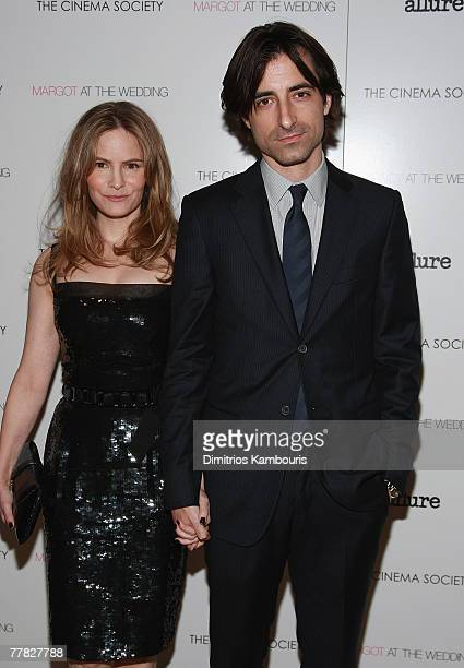 Jennifer Jason Leigh and director Noah BaumBACH attend the Margot at the Wedding hosted by the Cinema Society at the Tribeca Grand Screenig Room on...