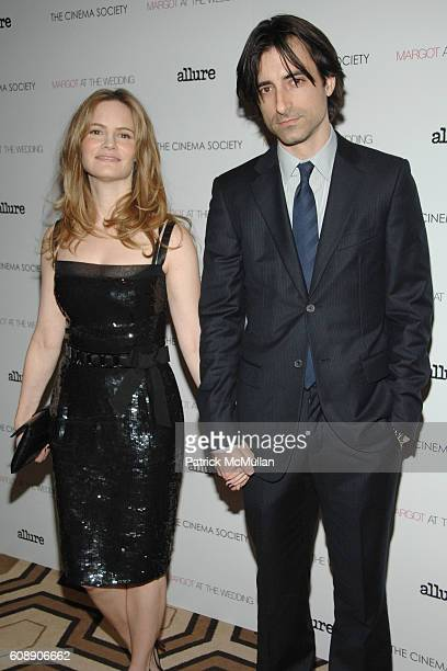 Jennifer Jason Leigh and Noah Baumbach attend THE CINEMA SOCIETY and LINDA WELLS host a screening of MARGOT AT THE WEDDING at Tribeca Grand Hotel on...