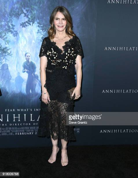 Jennifer Jason Leigh arrives at the Premiere Of Paramount Pictures' 'Annihilation' at Regency Village Theatre on February 13 2018 in Westwood...