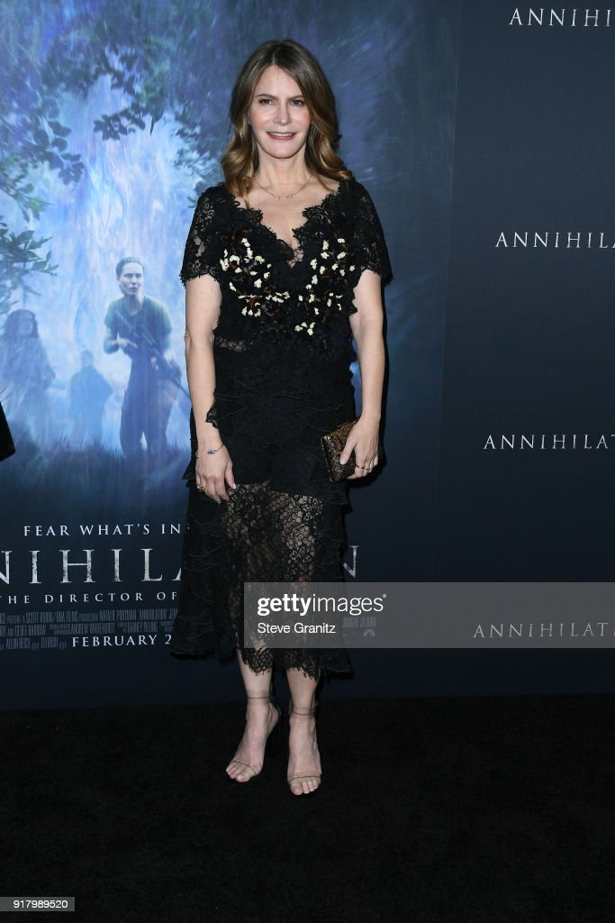 Jennifer Jason Leigh attends the premiere of Paramount Pictures' 'Annihilation' at Regency Village Theatre on February 13, 2018 in Westwood, California.