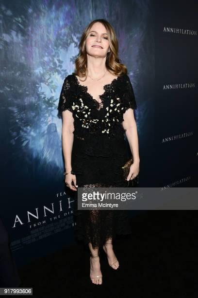 Jennifer Jason Leigh attends the premiere of Paramount Pictures' 'Annihilation' at Regency Village Theatre on February 13 2018 in Westwood California