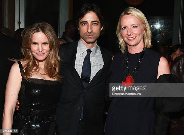 Jennifer Jason Leigh Director Noah Baumbac and Linda Wells attend the after party of Margot at the Wedding hosted by the Cinema Society at the SoHo...