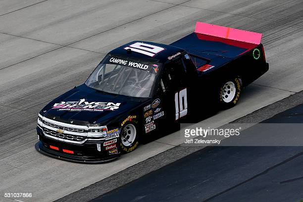 Jennifer Jo Cobb driver of the Driven2Honororg Chevrolet practices for the NASCAR Camping World Truck Series at Dover International Speedway on May...