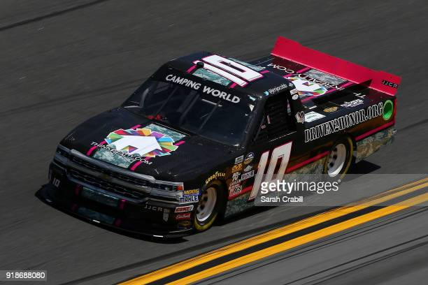 Jennifer Jo Cobb driver of the Think Reality Chevrolet practices for the NASCAR Camping World Truck Series NextEra Energy Resources 250 at Daytona...