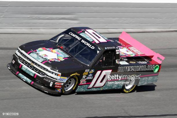 Jennifer Jo Cobb Jennifer Jo Cobb Racing Think Realty Chevrolet Silverado during practice for the NextEra Energy Resources 250 NASCAR Camping World...